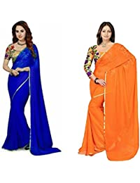 Navanya Couture Women's Chiffon Saree With Blouse Piece (Mali328_Orange::Blue)