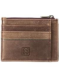 c15bcf1907 DUDU Porta carte di credito Portamonete Uomo in Pelle Vintage invecchiato  Portafoglio Slim con Cerniera Zip