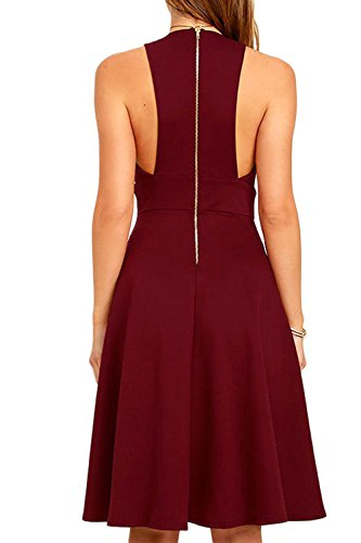 Damen elegante tiefer V-Ausschnitt Swing Partykleid Winered