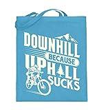 Shirtee Dirtbike Mountainbike MTB Downhill - Jutebeutel (mit langen Henkeln) -38cm-42cm-Hellblau