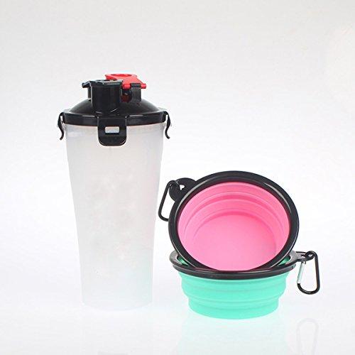 Pet Wasserkocher Wasser und Essen Dual-Use-Cup Ausgehende tragbare Faltschüssel Trinkbrunnen im Freien , white