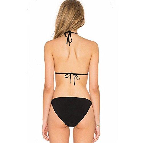 Erica Damen-Halter Bikinis Blumen-Stickerei Turtleneck Zwei Stücke Set Badeanzug Wireless Gepolsterte BH Schwarz Black