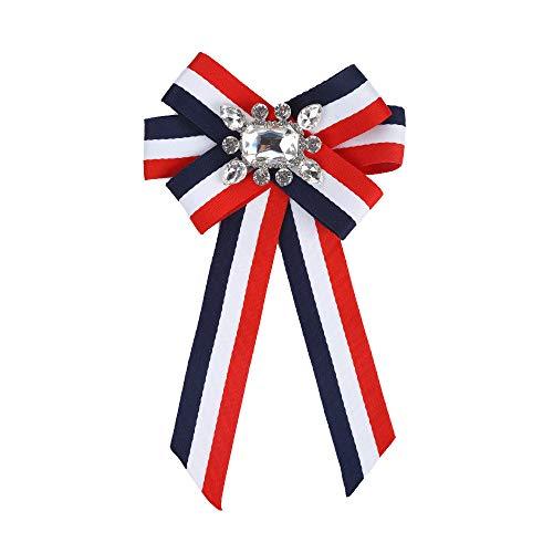 Zhongsufei-WA Gestreifte professionelle Fliege Brosche Kragen Blume mit Crystal Bowknot Pin Kleidung Dekorationen (Farbe : Blue+White+red) (Red Mädchen Und Blue-outfits White)