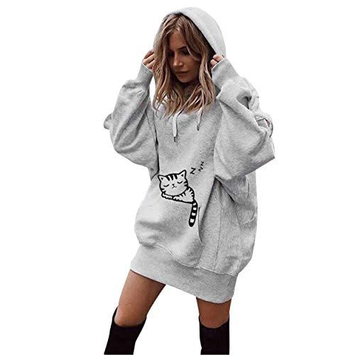 Moonuy Frauen Long Hoodie Female Full Sleeved Pullover Stilvolle Solid Color Kleidung Hoodies Mantel Hoody Sweatshirt Outwear Mantel (X-Large, Grau (Katze))