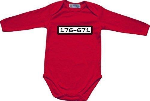Halloween Soziale Kostüme (ShirtInStyle Langarm Babybody Karneval Panzerknacker Zahlencode, Kostüme verkleiden, Farbe rot, Größe)