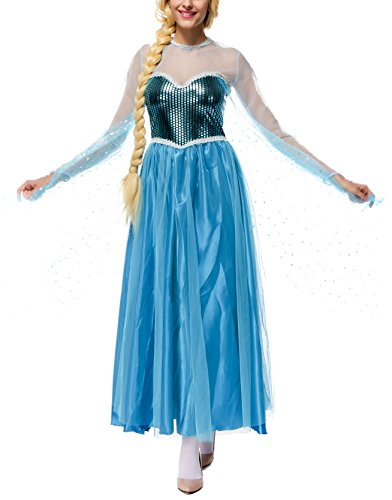 Damen Elegante Prinzessin Elsa Kleid mit warmer Stola Pailletten-Kleid Kostüm Cosplay (Süße Quinn Harley Kostüme)