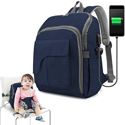 Wickeltasche Rucksack, Baby Wickeltasche, Ceekii Mama Rucksack Babyrucksack mit Multifunktional Kindersitz Wasserdicht Babytasche und USB-Lade Port Wickelrucksack (Blau)