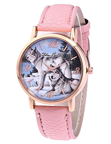 Frauen Uhren,Moeavan Frauen Quarz Uhren Räumungs Analog auf Verkauf Wolf Pattren Damen Armbanduhren Mädchen Uhren Leder Weiblich Uhren Neu (Pink)