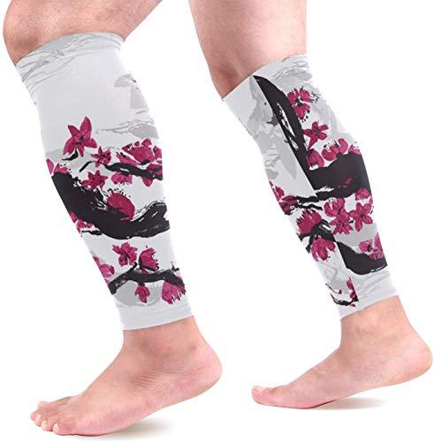 hdyefe Sport-Waden-Kompressions-Ärmel-Ölgemälde-japanische Pflaumenbein-Kompressions-Socken für Männer und Frauen