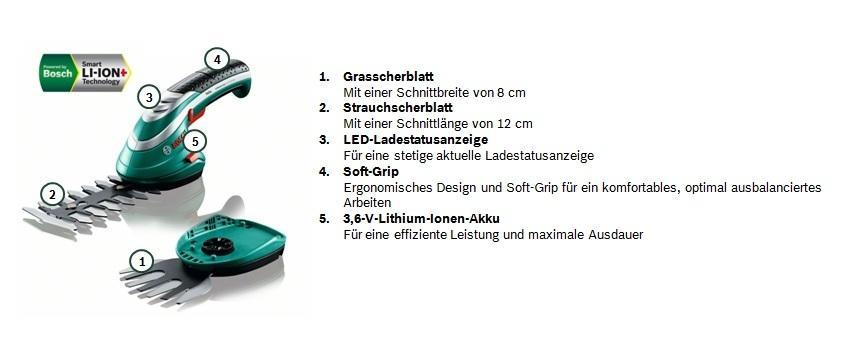 bosch diy akku gras und strauchscheren set isio akku ladeger t grasschermesser. Black Bedroom Furniture Sets. Home Design Ideas