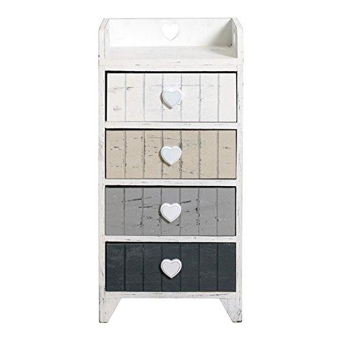 Rebecca srl comodino mobile cassettiera 4 cassetti rebecca love legno bianco beige grigio shabby chic vintage camer ingresso (cod. re4380)