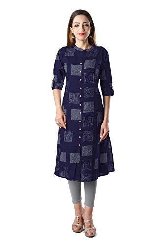 Bright Cotton Kurtis for Women Blue Kurtas Cotton BCOWN-007B-46