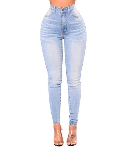 f8614da15c06 Skinny Jeans Hosen Damen High Waist Jeanshosen Stretch Jeans Röhrenjeans Damen  Slim Bleistift Hosen Denim Hose Lange Hüftjeans Zerrissen Jeggings Shaping  ...