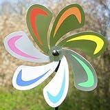 Edelstahl Windrad - Blume 28 Curve Rainbow - extrem wetterfest - Windrad: Ø28cm - inkl. 72cm Standstab und Bodendübel (Curve Rainbow)