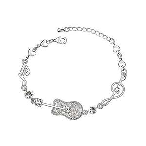 Silver Swarovski Elements Crystal Diamond Accent Guitar Bracelet Bracelets for women teenage girls kids children, with a Gift Box, Ideal Gift for Birthdays / Christmas / Wedding---White, Model: X17622