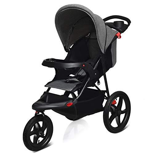 COSTWAY Jogger Buggy zusammenklappbar, Dreirad Buggy mit Liegefunktion, Sitzbuggy, Babybuggy, Kinderbuggy, Kinderwagen, Jogging Buggy für Baby ab Geburt bis 36 Monate (Grau)