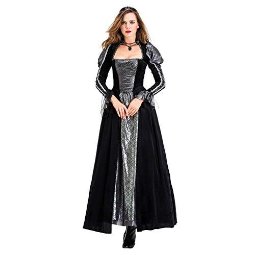 Lomelomme Halloween Halloween Cosplay Hexe Frauen Kleidung Vintage Gothic Kleid Lang Damen Festival Mittelalterliche Kostüm (Mittelalterliche Kostüm Für Pferde)