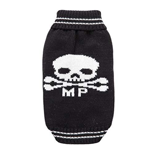 YiiJee Kleine Hundchen Kleidung Halloween Schädel Gestrickte Pullover Haustier Hund Warme Pullover Schwarz ()