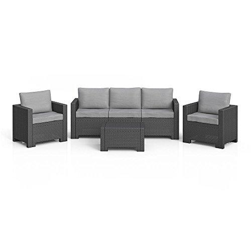 LD Lounge Set Polyrattan Gartenmöbel Rattanoptik Sitzgruppe grau