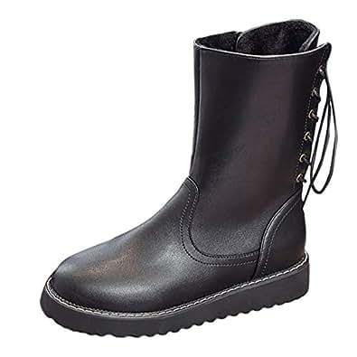 b401f515875fc2 Bild nicht verfügbar. Keine Abbildung vorhanden für. Farbe  Winterschuhe  Damen Zipper Stiefel Mitte Flache Leder Schuhe Martin ...
