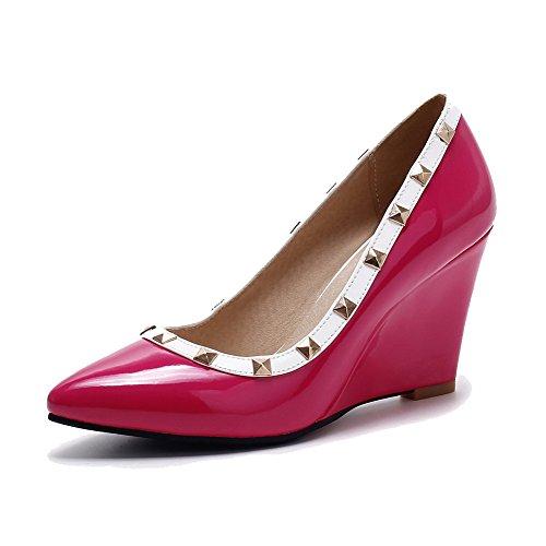 AllhqFashion Femme Verni Tire Pointu à Talon Haut Mosaïque Chaussures Légeres Rouge