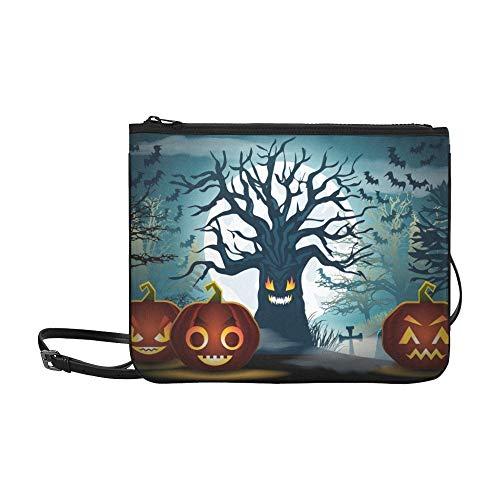 WYYWCY Halloween Scary Tree Pumpkins Benutzerdefinierte hochwertige Nylon Slim Clutch Bag Cross-Body Bag Umhängetasche