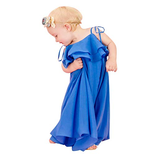 Livoral Mommy & Me Kind-Mädchen-Shirt aus Massiv Sling Vest Ruffles Familie Kleidung Kleid(Blau(Baby),X-Small)