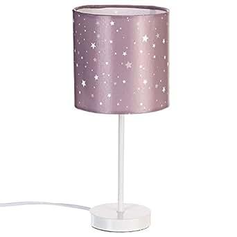 nachttischlampe lampenschirm in der farbe taupe sternenmotiv beleuchtung. Black Bedroom Furniture Sets. Home Design Ideas