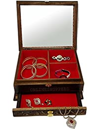 Onlineshoppee Wooden Antique Jewellery and Bangle Box With Mirror and Drawer Handicraft Design