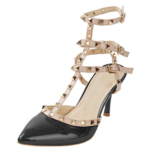 Women's Studded Patent Leather Contrast Stilettos&High Heel Pointed Toe Buckle Sandals Black