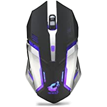 Inverse Rechargeable X7 Wireless Silent LED Backlit USB Optical Ergonomic Gaming Mouse (Black)