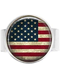 nijiahx American Flag adjustable ring - USA Flag Jewelry - Patriotic Jewelry - Old Glory - Stars and Stripes - US Flag adjustable ring