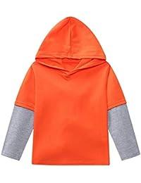 JYC Camisetas de Manga Larga para Niña,Manga Larga para Niños,Niños Niño Chicos Chicas Sólido ParcheEncapuchado Pullover Tops Trajes Casual Ropa