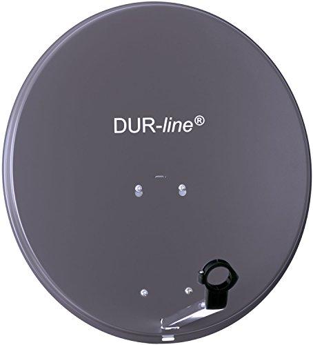 DUR-Line MDA 60cm Anthrazit - Aluminium Satellitenschüssel mit LNB Feedhalterung - Sat Antenne Spiegel Anlage [Digital, Camping, Astra 19,2°, DVB-S/S2, Full HD, 4K, 3D]