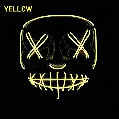Neon-led-maske Maske Mascara Glow In The Dark Maske Light Up Scary Skull Maske Party Festival Cosplay Cosplay Kostüm Halloween Brithday Gift gelb (In The Halloween-party Dark Glow)
