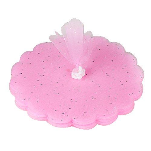 Dia.24cm 100pz tulle veli in organza rosa con punti luccicanti bomboniere portaconfetti