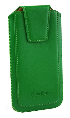 Emartbuy Sleek Range Green Luxury PU Leather Slide in Pouch Case Cover Sleeve Holder ( Size LM2 ) With Magnetic Flap & Pull Tab Mechanism Suitable For Motorola Moto E3 Power  available at amazon for Rs.499