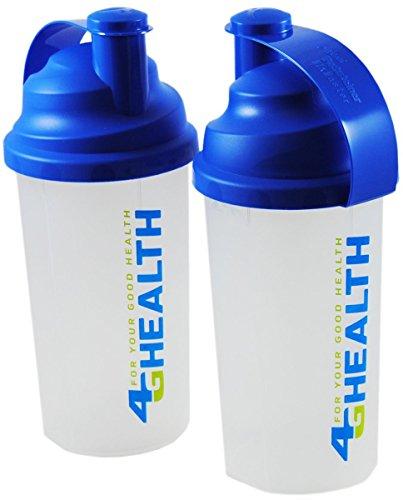 Doppelpack Eiweiß Shaker blau 4G Health + Schlagsieb - Eiweißshaker - Mixer - Cocktailshaker (blau, 2x 700ml)