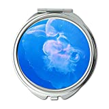 Yanteng Spiegel, kompakter Spiegel, Blaue Gallertqualle, Taschenspiegel, tragbarer Spiegel
