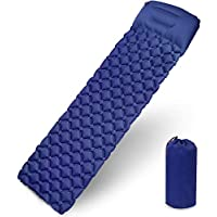 Diagtree Camping Sleeping Pad Ultralight Camping Mattress with Pillow, Waterproof Double-Sided Color Sleeping Pad, Folding Inflating Single Bed Portable Air Pad for Trekking Backpacking