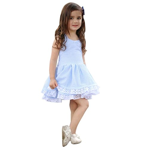 bekleidung Party Kleid Babykleidung Prinzessin Kleid Junge Mädchen Kleinkind Sommer Sommer Prinzessin Drape Kleid Kurzarm T-Shirt Kleid Tutu Kleider LMMVP (Blau, 100 (3T)) (Herren Kleid Anzug Set)