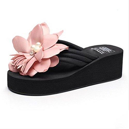 pengweiDamen Sommer Sandalen Verdickung Sohlen Clip F¨¹?e cool Pantoffeln Blumen Strand Schuhe Flip-Flops 1