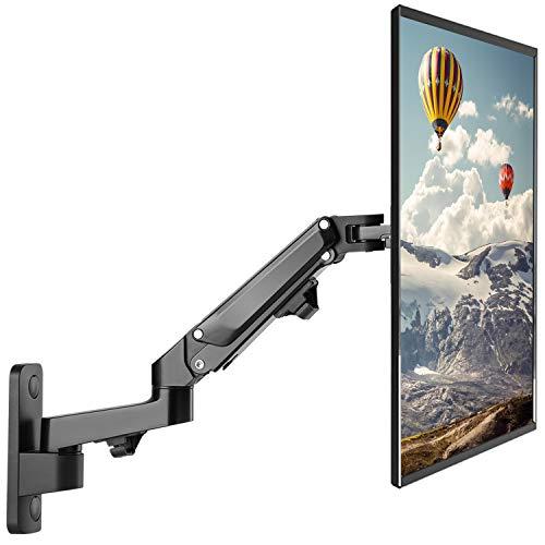 """PUTORSEN® 17""""-27"""" Monitor Wandhalterung mit Kostenlos Einstellen Gasfeder TV Wandhalterung Fernseher Halterung Schwenkbar Neigbar Universal LCD Wandhalter 2-7kg VESA 75 100 (Schwarz)"""