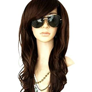 MelodySusie Women's Dark Brown Curly Wig, Heat Resistant Natural Fashion Looking Long Full Wavy For Ladies Costume Cosplay Halloween Party Hair Wig with Free Wig Cap