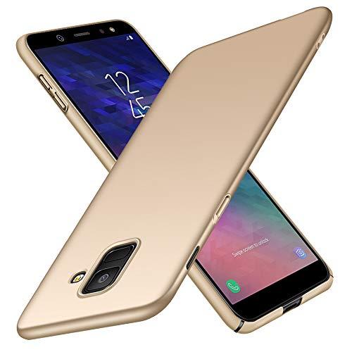 TopACE Samsung Galaxy A6 2018 Hülle, Bumper Hülle Samsung Galaxy A6 2018 Schutzhülle PC Plastik Harte Case Ultra Slim Matt Handyhülle Für Galaxy A6 2018 (Gold)