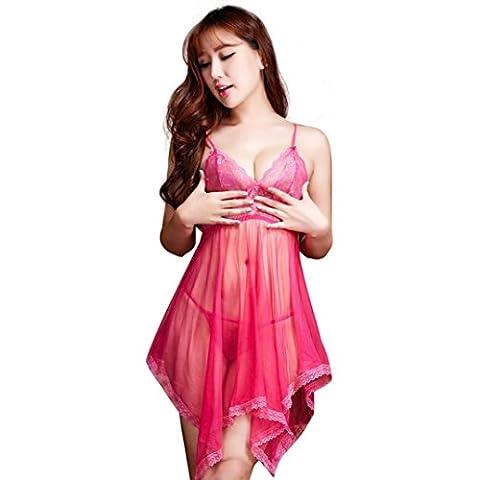 Sunheit Nachtwäsche Damen Sexy Set Erotik Wäsche Für Frauen (M, Rose rot)