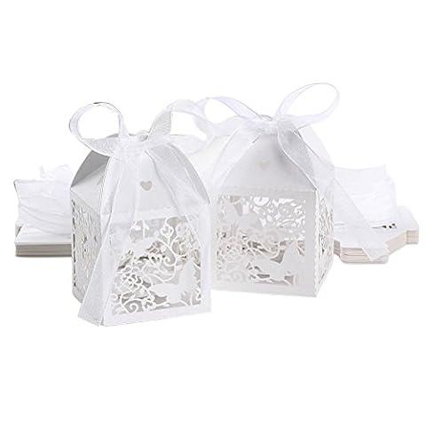 VORCOOL 50pcs Wedding Favor boîtes à bonbons coffrets - papillon creux Style cadeaux (Blanc)