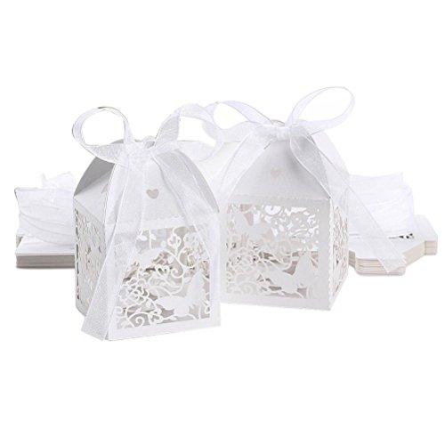 Wedding VORCOOL 50pcs Favor scatole per dolcetti cavi Cofanetti regalo, motivo: farfalla, colore: bianco