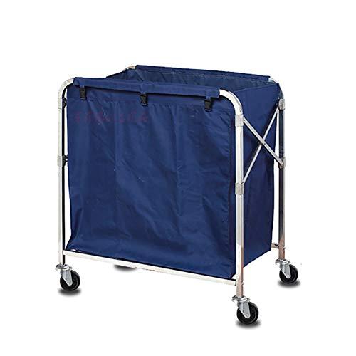 Küchenwagen Faltbarer Hotelreiniger vom X-Typ Wäschewagen mit Universalrad, mobiler Wäschekorb mit abnehmbaren blauen Taschen