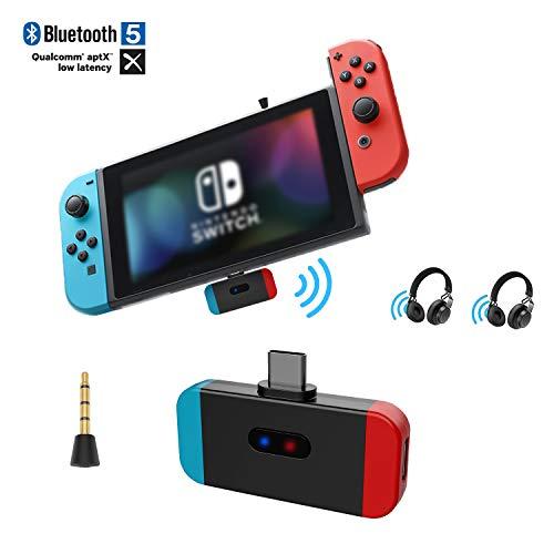 Friencity Adaptateur de Transmetteur Audio Bluetooth pour Nintendo Switch PS4 PC, Connecteur USB de Type C, Voix dans Le Jeu, APTX Faible Latence Dual Link to Wireless Gaming Headphones,Plug &Play